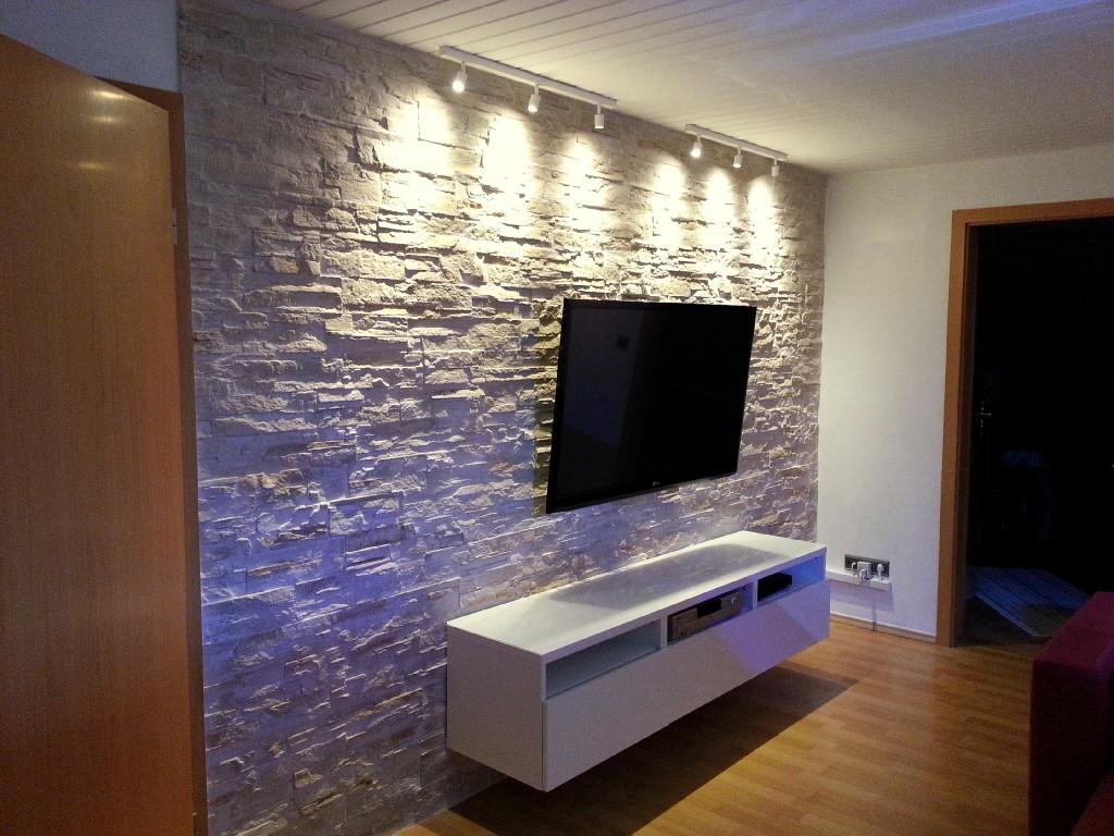 Wohnzimmer Riemchenkunststeinpaneele Dundee Crema Spezial